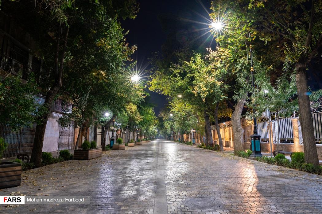 خیابان طالقانی، شیراز پس از ممنوعیت عبور و مرور ساعت 21