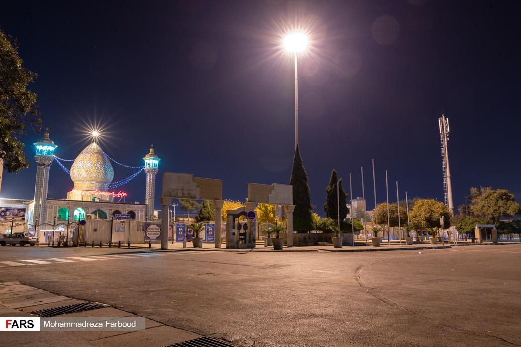 حرم مطهر سیدعلاءالدین حسین(علیه السلام)، شیراز پس از ممنوعیت عبور و مرور ساعت 21