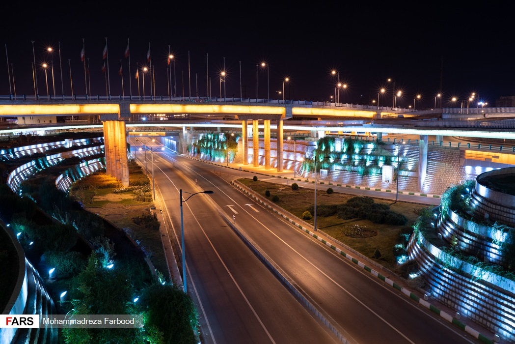 پل شهدای پودنک، شیراز پس از ممنوعیت عبور و مرور ساعت 21
