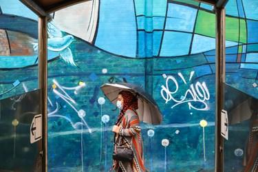 بارش باران پاییزی در پایتخت/ خیابان ولیعصرتهران