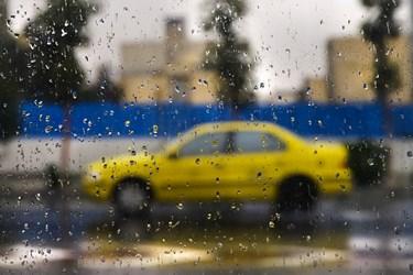 بارش باران پاییزی در پایتخت/ خیابان ولیعصر تهران