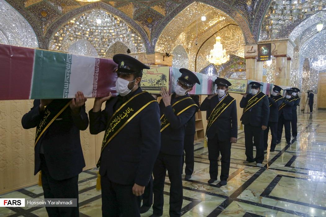 مراسم تشییع پیکر شهدای گمنام و تعویض پرچم حرم حضرت معصومه(س)