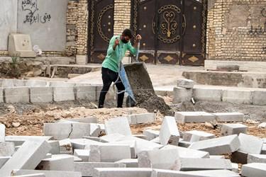 همکاری ساکنان منطقه با جهادگران درساخت پارک در کوی طاهر اهواز