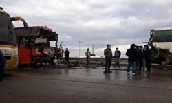تصادف زنجیرهای 4 دستگاه اتوبوس در محور گلگهر