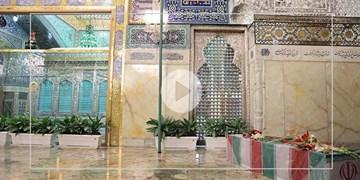 تشییع پیکر شهید فخریزاده در حرم مطهر رضوی