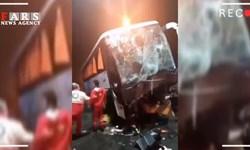 فیلم| برخورد اتوبوس با کیوسک عوارضی اتوبان قزوین-کرج