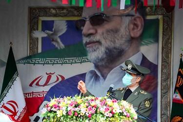 سخنرانی امیر سرتیپ حاتمی وزیر دفاع درمراسم تشییع شهید فخری زاده در ستاد وزارت دفاع