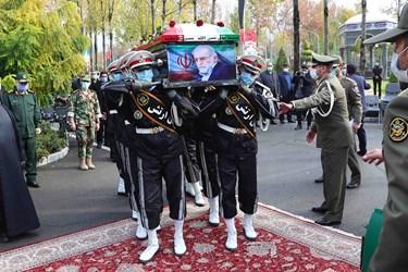 مراسم تشییع شهید فخری زاده در ستاد وزارت دفاع