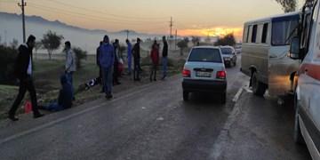 مصدومیت ۳۰ نفر در تصادف زنجیرهای در محور مسجدسلیمان - لالی + عکس و فیلم
