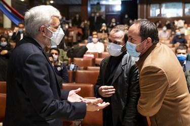 گفتوگوی سعید جلیلی با فرزندان شهید هستهای محسن فخریزاده در آیین بزرگداشت روز دانشجو در دانشگاه تهران