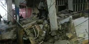 یک باب مغازه در بازار بندر امام خمینی(ره) فرو ریخت + فیلم