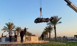انتقال خودروهای سردار سلیمانی و ابومهدی المهندس به محل شهادت ایشان+تصاویر