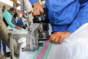 دوخت کیسه ی پر شده از پرک سفید به وسیله ی دستگاه مخصوص/کارگاه محراب
