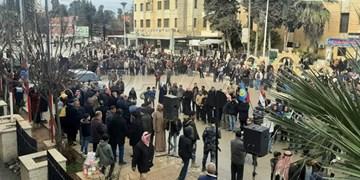 تجمع اهالی الحسکه سوریه در اعتراض به ترکیه به خاطر قطع آب