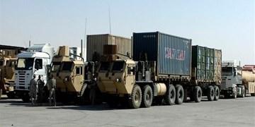 سومین کاروان لجستیک نظامیان تروریست آمریکا در عراق هدف قرار گرفت +فیلم