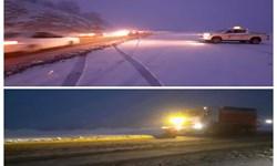 لغزندگی محورهای مواصلاتی استان ایلام به سبب بارش برف