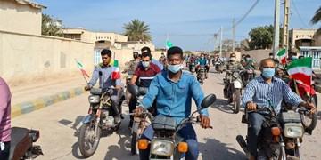جشن پیروزی انقلاب در «بوموسی» جزیره سرافراز ایرانی/ موتورهایی که بیخ گوش اجنبیها به صدا در آمد+عکس