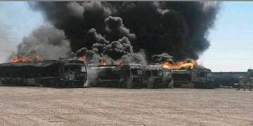 سوختن 5 میلیون دلار کالا در حادثه گمرک اسلام قلعه/ 500 دستگاه کامیون کاملا سوخت
