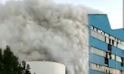 آتش سوزی در کارخانه کشت و صنعت نیشکر هفت تپه+فیلم