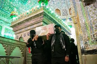 مراسم تشییع شهید مدافع امنیت محسن جعفری در حرم مطهر حضرت شاهچراغ(ع) شیراز