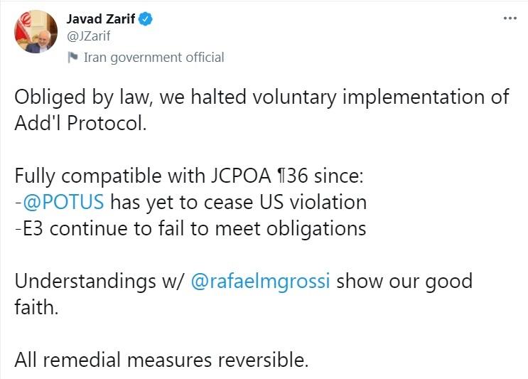 ظريف: وقف تنفيذ البروتوكول الإضافي يتوافق مع المادة 36 من الاتفاق النووي