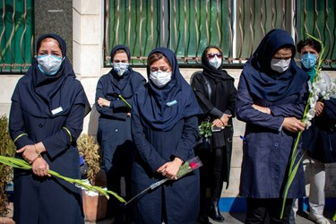 حضور همکاران شهید مدافع سلامت «فرانک داودی» در مراسم تشییع