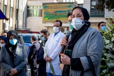 سخنرانی یکی از همکاران شهید مدافع سلامت «فرانک داودی» در مراسم وداع