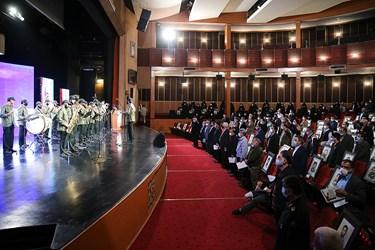 ادای احترام به سرود جمهوری اسلامی در آغاز مراسم یادواره ستارگان دوکوهه