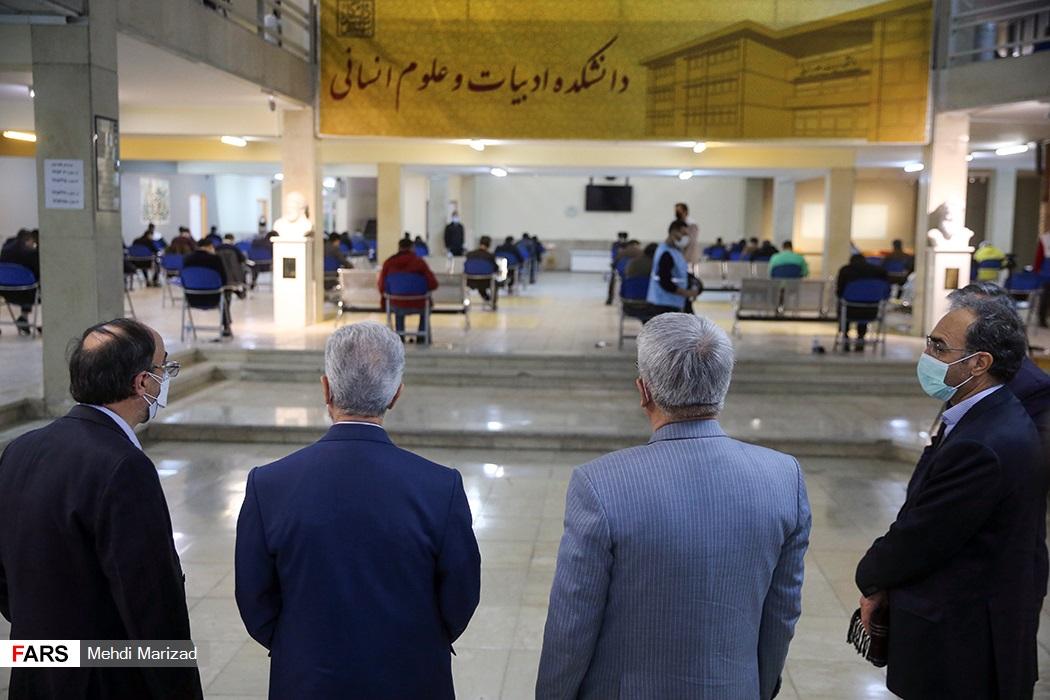 بازدید منصور غلامی وزیر علوم، تحقیقات و فناوری و ابراهیم خدایی رئیس سازمان سنجش آموزش کشور از محل برگزاری آزمون دکتری ۱۴۰۰ در دانشگاه شهید بهشتی