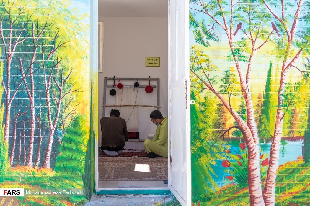 کارگاه تولید قالیچه در مجموعه آموزش اشتغالزایی بهبود یافتگان از اعتیاد در شیراز