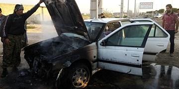آتشسوزی خودرو پژو در جاده بوشهر-گناوه