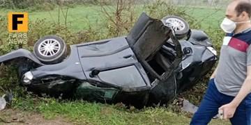 واژگونی ۲ خودرو در سانحه رانندگی جاده توسکستان