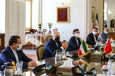 «محمد جواد ظریف» وزیر امور خارجه در دیدار با «وانگ یی» وزیر امور خارجه چین در محل وزارت امورخارجه ایران
