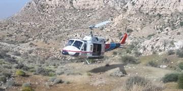 نجات مرد چوپان با بالگرد اورژانس در کوههای صعبالعبور کردلان دشتی