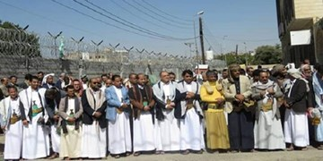 تجمع گسترده ضد آمریکایی-سعودی  مقابل دفتر سازمان ملل در صنعاء
