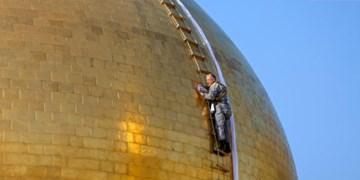 حرم علوی در آستانه ماه رمضان شستوشو شد+عکس