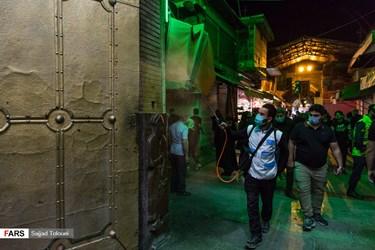 ضد عفونی محل اجرای مراسم احیای شب بیست و یکم ماه مبارک رمضان در حرم حضرت عبدالعظیم حسنی (ع)