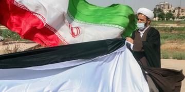 برافراشتن پرچم بزرگ فلسطین در اهواز