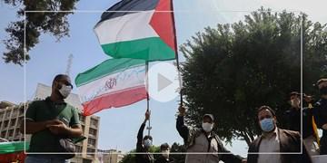 اهتزاز پرچم فلسطین در روز قدس