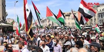 حضور مردم سوریه در راهپیمایی روز قدس در دمشق