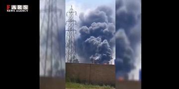 فیلم| آتش سوزی در شهرک صنعتی لیا