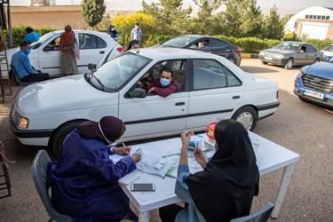 تزریق واکسن خودرویی در نمایشگاه بین المللی گلستان شیراز