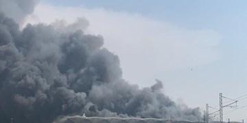 آتشسوزی گسترده در اطراف یک مرکز نظامی در حومه حیفا