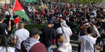 تجمع در برلین در حمایت از فلسطین و اعتراض به رژیمصهیونیستی+ فیلم