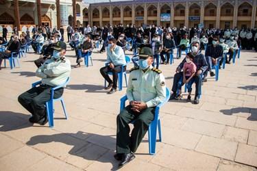 حضور مسئولان ارشد نظامی، انتظامی و استانی و خانواده این شهید گرانقدر در مراسم تشییع / حرم مطهر حضرت شاهچراغ(ع) شیراز