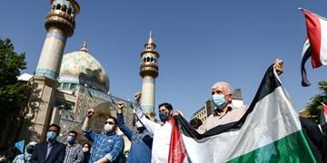 راهپیمایی نمازگزاران عید فطر در حمایت از مردم فلسطین