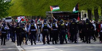 حمله پلیس دانمارک به تظاهرات حمایت از فلسطین+فیلم