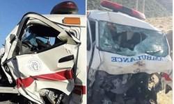 یک فوتی و سه مصدوم در تصادف آمبولانس با نیسان در گیلانغرب+ فیلم