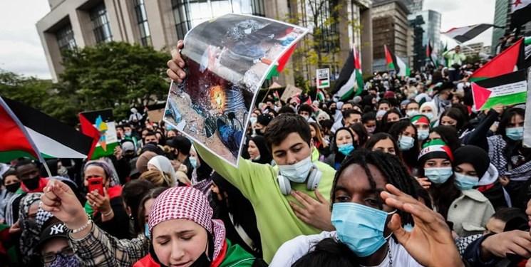 تظاهرات گسترده در برلین و بلژیک در حمایت از فلسطینیان +فیلم