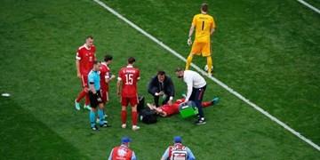 حادثه دلخراش دیگر در یورو 2020/قفسه سینه بازیکن روسیه شکست+تصاویر